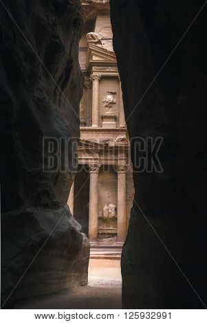 Al Khazneh or The Treasury at Petra, Jordan. The city of Petra was lost for over 1000 years. Now one of the Seven Wonders of the Word