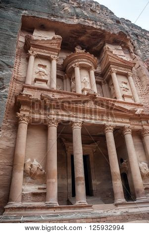 Al Khazneh - the treasury of Petra ancient city, Jordan. The city of Petra was lost for over 1000 years. Now one of the Seven Wonders of the Word