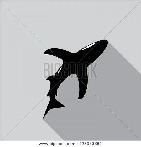 icon shark. A silhouette of a black shark on a gray background