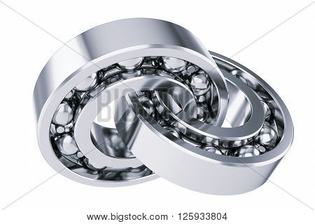 Intersecting ball bearings. Isolated on white background 3d