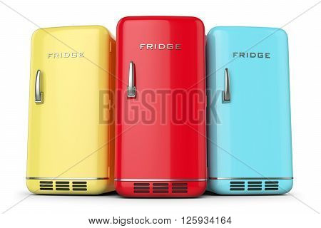 Group of retro colored fridges in row isolated on white background 3d