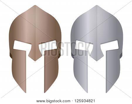 Spartan helmet on a white background. Vector illustration.