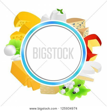 Circle blue frame cheese food set different types background illustration vector