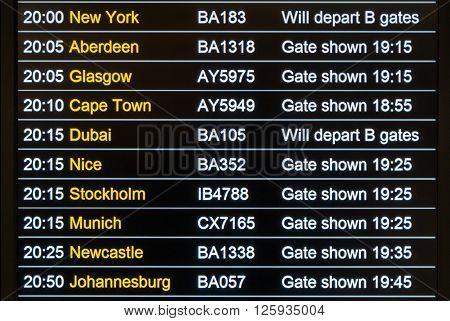 London United Kingdom - November 5 2014: Heathrow International Airport Departures Board.
