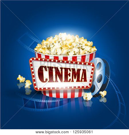 Popcorn box, film strip, Cinema background Detailed vector illustration. EPS10 file.