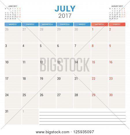 Calendar Planner For 2017 Year. Vector Design Template. July. Week Starts Monday. Stationery Design