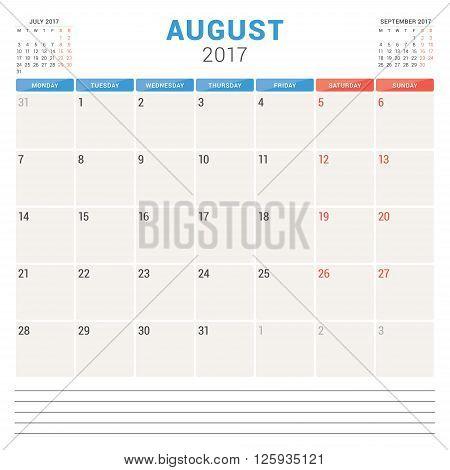 Calendar Planner For 2017 Year. Vector Design Template. August. Week Starts Monday. Stationery Desig