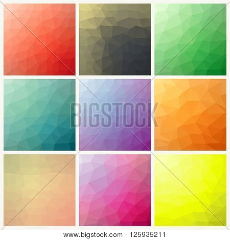 Flow of spectrum effect. Vector polygonal background.Set of nine colorful abstract geometric background with triangular polygons.