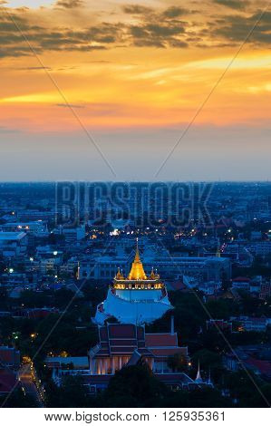 Wat Sarket called Golden Mount Temple, the most famous landmark in Bangkok Thailand with beautiful sky after sunset