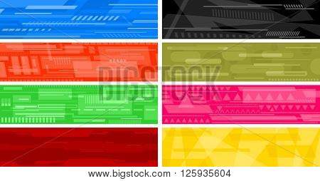 Eight futuristic sci-fi hi-tech abstract banners. Vector illustration