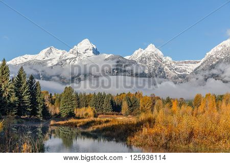 the snow capped teton mountains in fall landscape