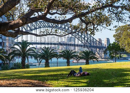Sydney Australia - November 7 2014: Just relax in park and enjoy the one of the famous bridges of the world Sydney NSW Australia.