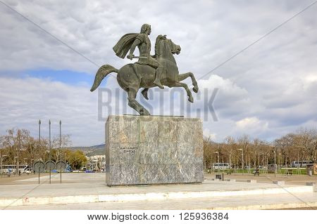 THESSALONIKI GREECE -- March 17.2016: Sculpture of Alexander the Great on the city waterfront