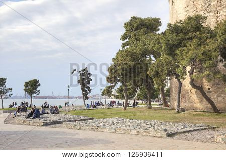 THESSALONIKI GREECE - March 17.2016: View on the embankment of city from the side of White Tower