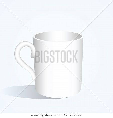 White ceramic mug. Mock-up big cup empty realistic mug with light shadows. Copy space. Vector illustration.