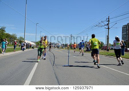 Runners During Marathon Race