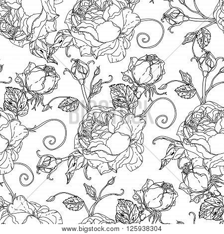 Adult coloring book style Seamless roses pattern  for adult coloring book in famous zenart style. Hand-drawn, retro, doodle, vector, uncoloured. The best for design, textiles, coloring book in vector.