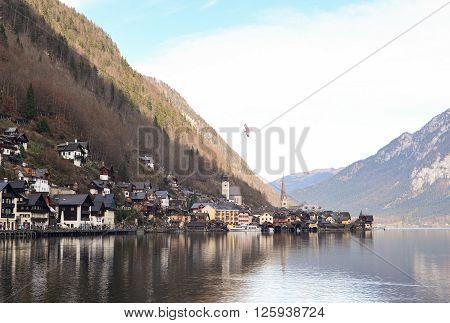 View of old town Hallstatt Village in early winter Austria