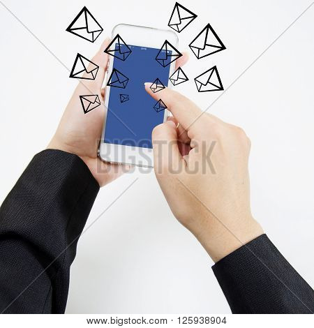 Hand take a mobile sent email on internet