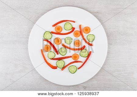 Slices Of Peppers, Carrots And Cucumbers In White Glass Plate