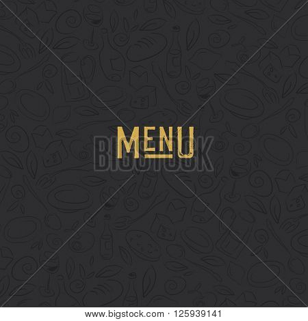 Menu design template. Restaurant Seamless Pattern. Gold and Black.