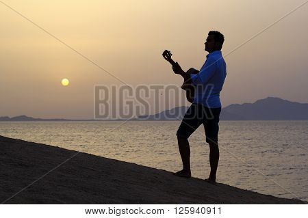 pensive man guitarist on the beach with guitar watching the sun