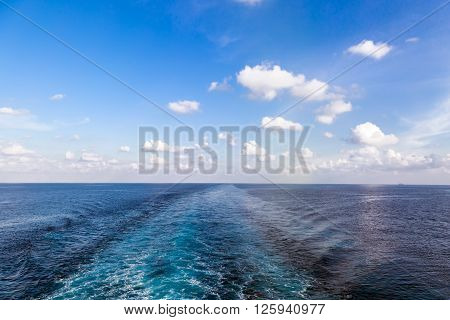 Way of the ship on sea water surface
