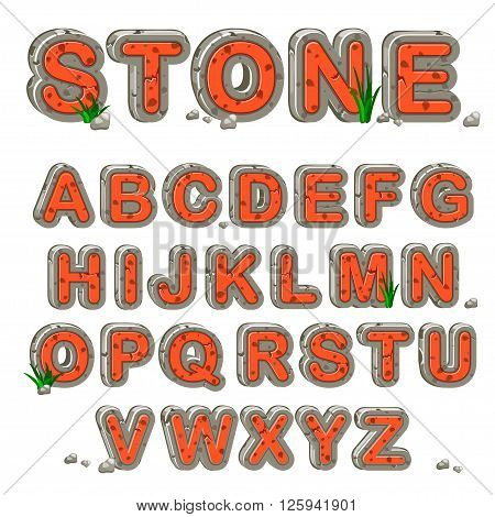Red Stone alphabet and  word stone in vector