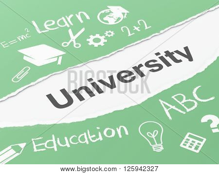 3d renderer image. Torn paper with word university. Education concept.