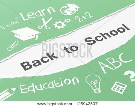 3d renderer image. Torn paper back to school. Education concept.