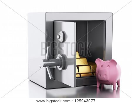 3d illustration. safe box with gold and pig money box. Security concept. Isolated white background.