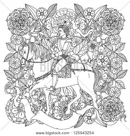 uncolored prince, flowers and ribbon for text. Adult coloring book famous zenart style. Hand-drawn, retro, doodle, vector, uncoloured. The best for design, textiles, cards, coloring book