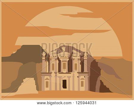 City buildings graphic template. Jordan. Petra. Vector illustration