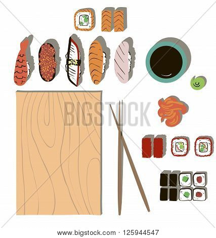 Colorful cartoon set of sushi and rolls