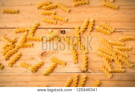 Pasta On Wooden Rustic Background In Warm Tone. Diet And Food Concept.