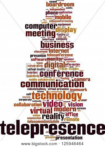 Telepresence word cloud concept. Vector illustration on white