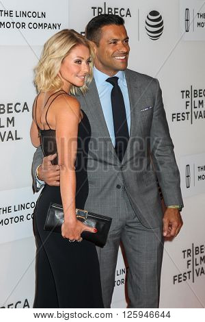 NEW YORK, NY - APRIL 16: Kelly Ripa and actor Mark Consuelo attdens  at 'All We Had' Premiere - 2016 Tribeca Film Festival at at BMCC Tribeca Performing Arts Center on April 15, 2016 in New York City