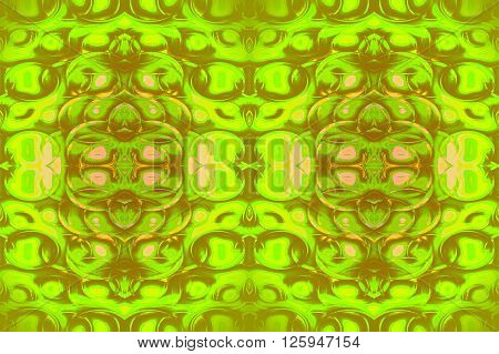 Abstract geometric seamless background. Ornate ellipses pattern in lime green and olive green shades with pink elements.