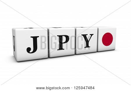 Currency rates exchange market and financial stock concept with JPY Japanese yen code and Japan flag on cubes isolated on white 3D illustration.