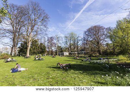 People Enjoy Relaxing In The Outdoor Area Of The  Palmengarten In Frankfurt.