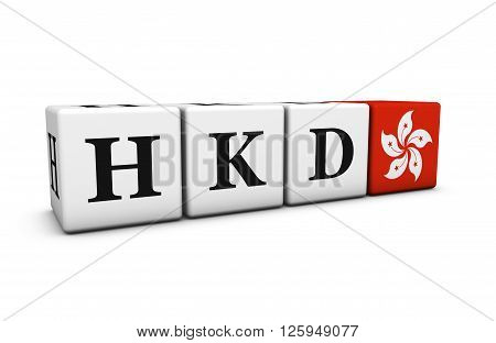 Currency rates exchange market and financial stock concept with HKD Hong Kong dollar code and flag on cubes isolated on white 3D illustration.