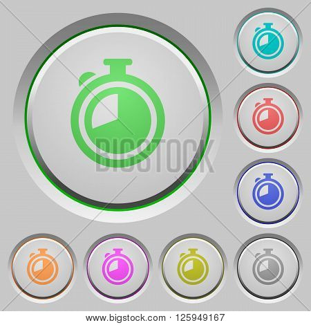 Set of color timer sunk push buttons.