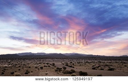 beautiful dawn on a desert landscape in southern california