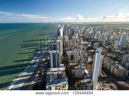 Aerial view of Boa Viagem beach in Recife, Pernambuco, Brazil