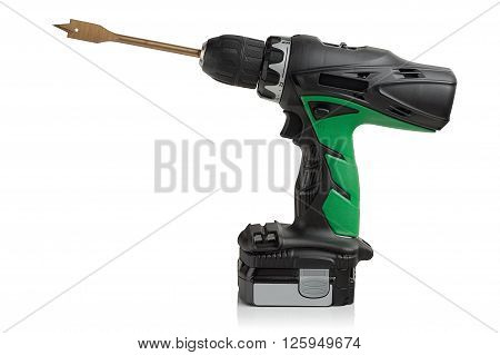 drill screwdriver battery on a white background.