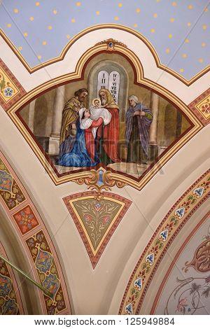 STITAR, CROATIA - AUGUST 27: Presentation at the Temple, fresco in the church of Saint Matthew in Stitar, Croatia on August 27, 2015