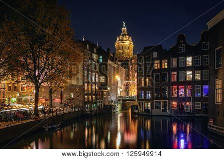 Great night atmosphere of Amsterdam. Especially look beautiful thousands of lights that are reflected in the numerous channels.