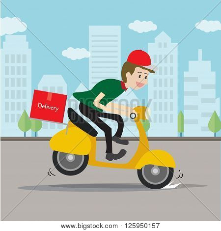 Delivery man service mind, business cartoon concept.