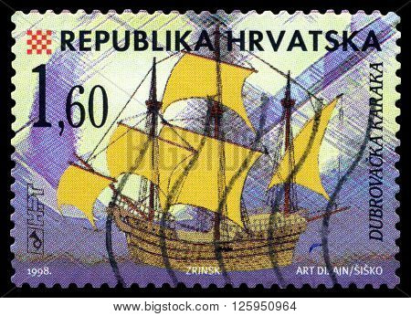 STAVROPOL RUSSIA - APRIL 05 2016: a stamp printed by Croatia shows old Sailing ship Karakka Zrinsk circa 1998 .