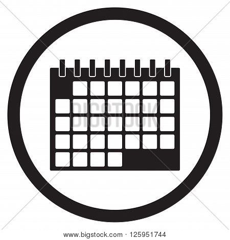 Calendar icon black white. Time date and month calendar reminder icon element. Vector flat design illustration